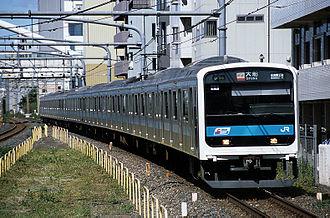 209 series - A 209 series train on the Keihin-Tōhoku Line between Saitama-Shintoshin and Ōmiya stations in October 2006