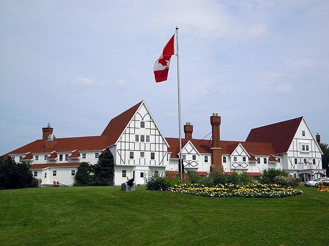 The main lodge of the historic Keltic Lodge in Ingonsish, on Cape Breton Island in Nova Scotia, Canada. Photo by Skeezix1000.
