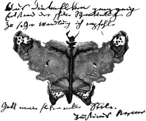 Justinus Kerner - Autograph with klecksography