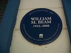 Photo of William M. Beam blue plaque