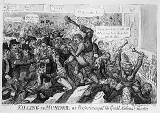 John Philip Kemble - Cartoon of the riots by Isaac Robert Cruikshank, entitled Killing No Murder as Performing at the Grand National Theatre.