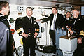 Kim Beazley and other Australian VIPs tour one of the USS Missouri's 16 inch gun turrets in 1986.jpg