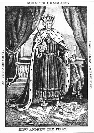 "United States presidential election, 1832 - ""King Andrew the First"", an Anti-Jacksonian poster shows Andrew Jackson as a monarch trampling the Constitution, the federal judiciary, and the Bank of the United States"