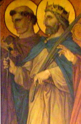 Salomon, King of Brittany - Saint Salomon, from a fresco by the Breton painter Alphonse Le Henaff in the Cathédrale Saint-Pierre de Rennes, painted between 1871 and 1876