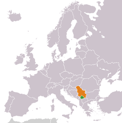 Map indicating locations of Kosovo and Serbia