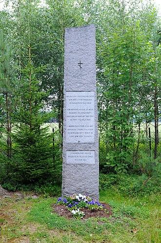 Våler, Hedmark - War memorial over Russian soldiers killed at Haslemoen in Våler by the Germans during World War 2