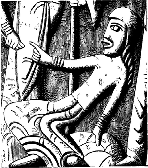 Majestatis - Illustration of detail on the Tryde baptismal font, by Majestatis