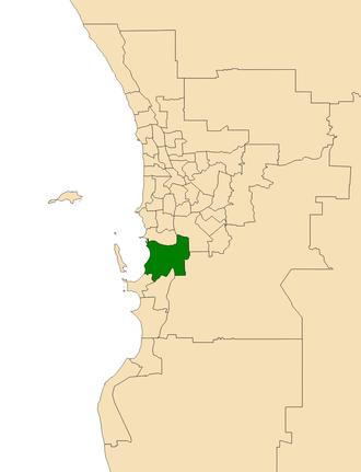 Electoral district of Kwinana - Location of Kwinana (dark green) in the Perth metropolitan area