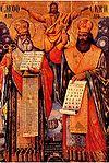 Methodios und Kyrill auf einer Ikone (→ zum Artikel Altkirchenslawische Sprache)