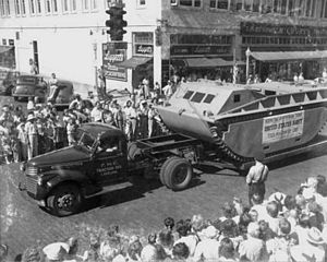 Landing Vehicle Tracked - LVT-1 exhibited by manufacturer (FMC) in 1941 parade, Lakeland, FL