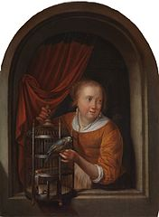 Young Woman in a Niche with a Parrot and a Cage