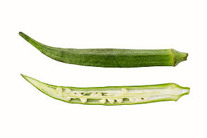 Okra - Okra in longitudinal section