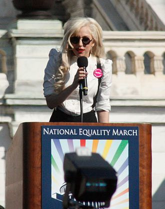 National Equality March - Singer and bisexual-identified LGBTQ activist Lady Gaga delivers a speech.