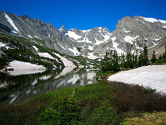 Indian Peaks Wilderness - Lake Isabelle below Navajo, Apache and Shoshoni Peaks