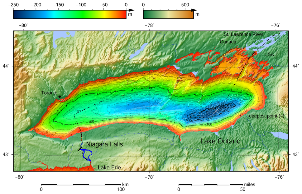 Lake Ontario bathymetry map