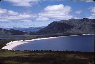Lake Pedder lake in Tasmania, Australia