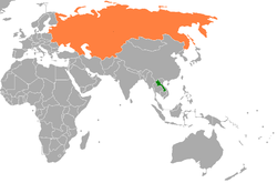 Map indicating locations of Laos and Soviet Union