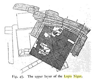 Lapis Niger ancient shrine at the Forum Romanum, containing a stele with an inscription in archaic Latin