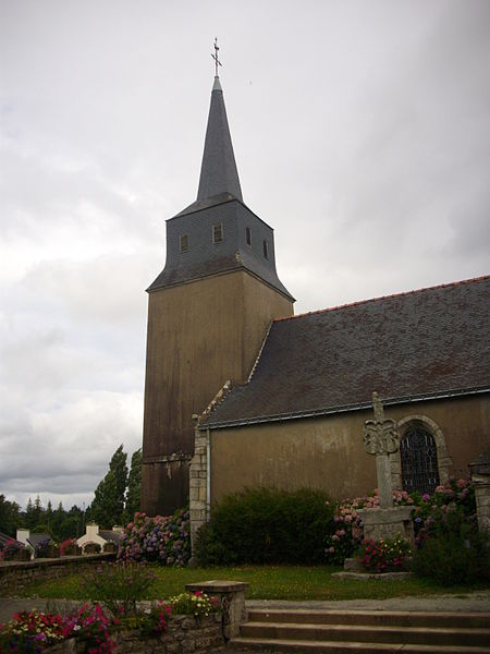 Saint Aignan church and Saint Christopher cross in Larré (Morbihan, France)