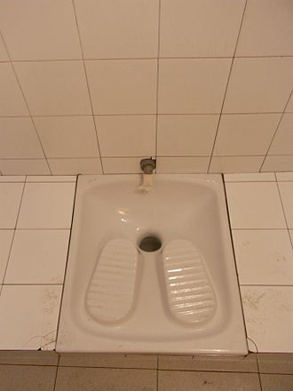 Flush toilet - Example of a squat toilet in Rome, Italy