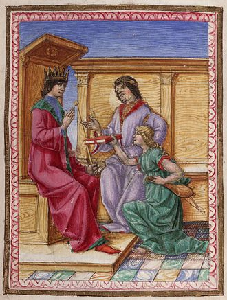 Lodovico Lazzarelli - Lodovico Lazzarelli (via his muse) presents the manuscript of Fasti christianae religionis to Ferdinand I of Aragon, king of Naples and Sicily. (Beinecke MS 391, f.6v)