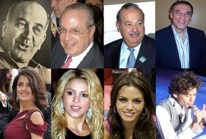 Lebanese people - Left to right: Felipe Sapag, Paulo Maluf, Carlos Slim, Jamil Mahuad Salma Hayek, Shakira, Jenna Dewan, Mika