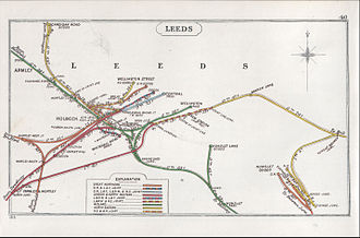 Leeds railway station - Railway lines in central Leeds in 1913