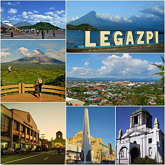 Legazpi, Albay - Clockwise from top right: JCI Legazpi Tourism Marker, View from The Oriental Legazpi, Cathedral of St. Gregory the Great, Battle of Legazpi Monument, Legazpi City Hall, Zip-line at Ligñon Hill, Legazpi Airport