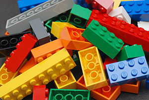 A pile of Lego blocks,
