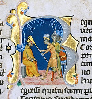 Lehel - Lehel killing his captor, miniature of the Chronicon Pictum (about 1360)