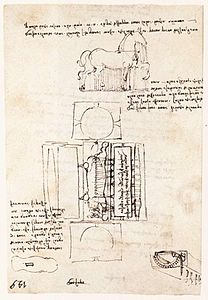 Leonardo da vinci, Manuscript page on the Sforza monument.jpg
