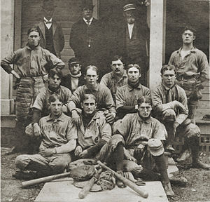 "Lew Carr - The Moravia, New York, baseball team of 1899. The ""Moravians"" were the Amateur Champions of Central New York. Lew Carr is in the 2nd row from front, 2nd from the left. (Photo courtesy of the Cayuga-Owasco Lakes Historical Society)"