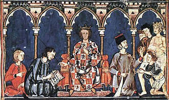 Alfonso X of Castile - Alfonso X as a judge, from his Libro de los juegos, completed ca. 1280.
