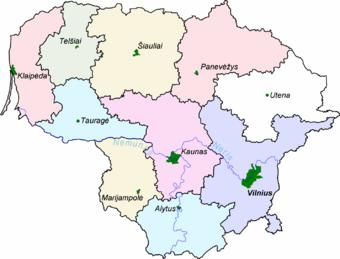 Οι επαρχίες της Λιθουανίας