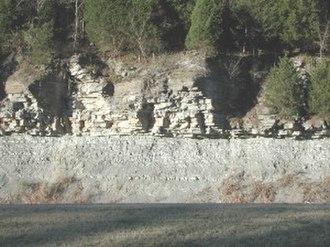 Shale - Limey shale overlaid by limestone, Cumberland Plateau, Tennessee