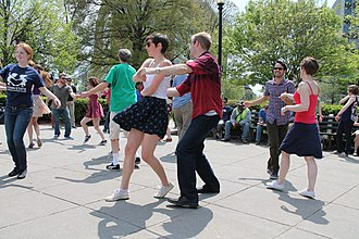 Lindy Hop - Lindy hop dancers at DuPont Circle, Washington, DC, on a Saturday afternoon