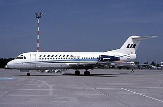 Linjeflyg - A Linjeflyg Fokker F28 at EuroAirport