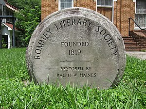 Romney Literary Society - Stone commemorative marker at Literary Hall in Romney, West Virginia