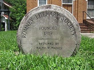 Romney Literary Society - Stone commemorative marker at Literary Hall in Romney, West Virginia