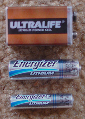 Lithium battery - Lithium 9 volt, AA, and AAA sizes. The top unit has three lithium-manganese dioxide cells internally, the bottom two are lithium-iron disulfide single cells physically and electrically compatible with 1.5 volt carbon-zinc or alkaline batteries.