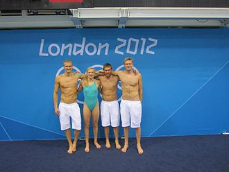 Rūta Meilutytė - Rūta at the 2012 Olympic Games with the Lithuanian swim team.