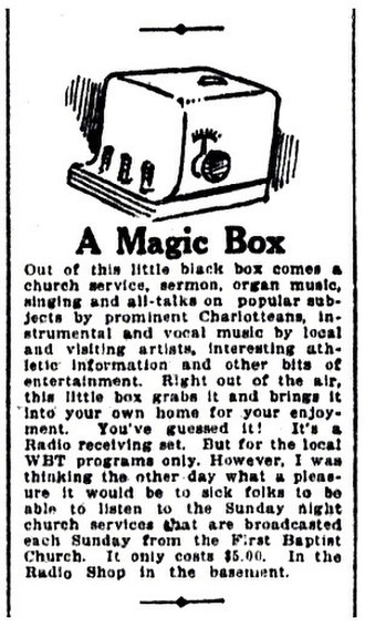 WBT (AM) - Little-Long Company advertisement for a crystal radio receiver capable of picking up WBT's programs (October 1922)