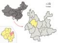 Location of Binchuan within Yunnan (China).png