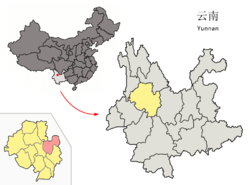 Location of Binchuan County (pink) and Dali Prefecture (yellow) within Yunnan province of China