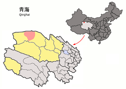Location of Lenghu (red) in Haixi Prefecture (yellow) and Qinghai