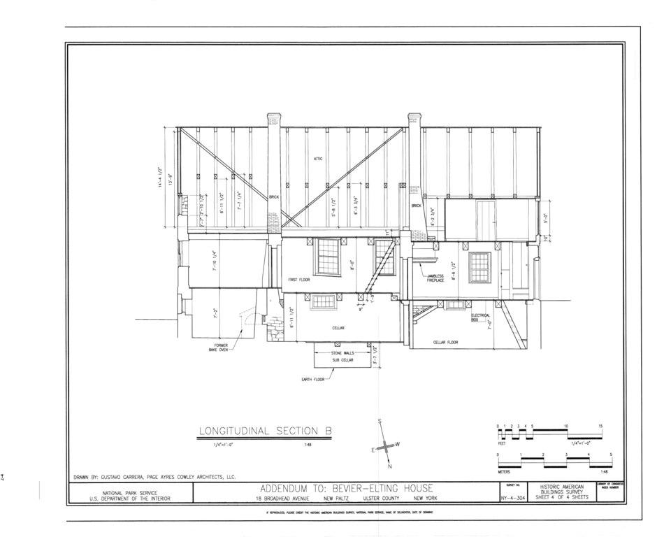 New Paltz New York >> File:Longitudinal Section - Bevier-Elting House, Hugenot Street and Broadhead Avenue, New Paltz ...