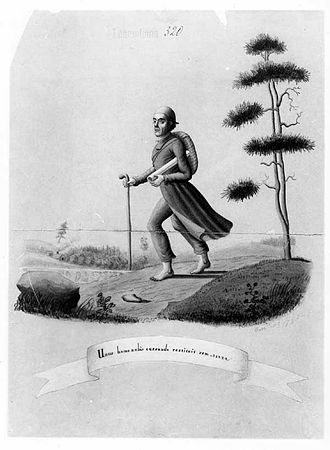 "Kalevala - A caricature of Elias Lönnrot by A. W. Linsen ""Unus homo nobis currendo restituit rem"" – ""One man saved a kingdom for us by running""."