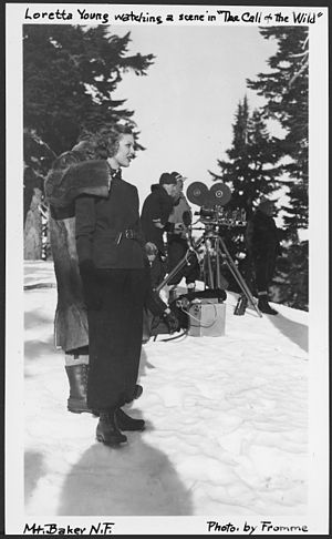 """The Call of the Wild (1935 film) - Image: Loretta Young Watching a Scene in """"The Call of The Wild"""", Mount Baker National Forest, 1935. NARA 299076"""