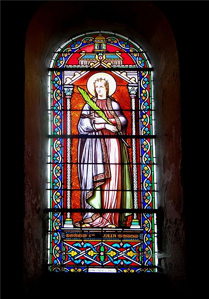 St. Alban Church, Lormes, Nièvre, France. Stained glass window depicting St. Julia.