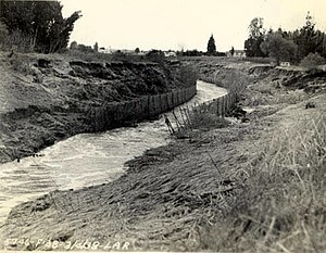 Los Angeles flood of 1938 - This well constructed section of the Los Angeles River channel was one of the few sections of riverbank that withstood the 1938 flood.